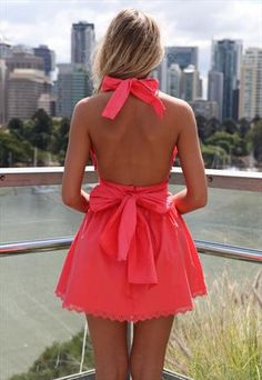 Coral Lizzy Taylor Dress Haler Neck Tie Bow Back