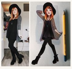 #ootd Witchy feels and casually going for fall vibes while it's spring oops.. Well it rains here a lot so I have an excuse The full video of how I sketched and colored this has just gone up on my youtube channel! The link is in my bio I'm also super close to 70k subscribers aaa yay!! by cyarine