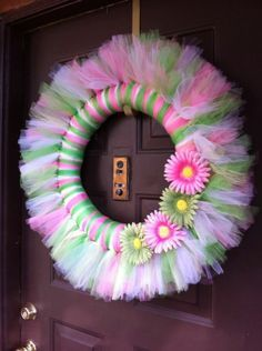 Items similar to Spring/Summer Tulle Wreath. on Etsy - litzygraham Tulle Projects, Tulle Crafts, Wreath Crafts, Diy Wreath, Wreath Ideas, Tule Wreath, Fabric Wreath, Easter Wreaths, Holiday Wreaths