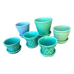6 American Flower Pots McCoy and others Blue Green Colors 1940s