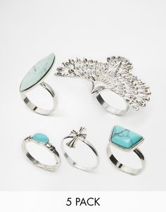 Asos Curve ASOS DESIGN Curve Pack Of 6 Enamel And Faux Moonstone Rings - Silver neK7iVVqY