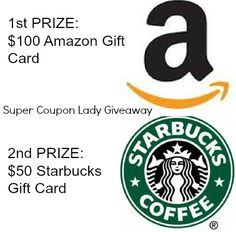 Win an Amazon Gift Card, Starbucks Gift Card (2 Winners) SuperCouponLady.com