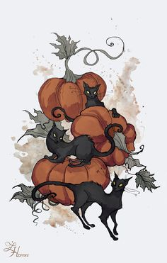 Halloween Kitties by IrenHorrors