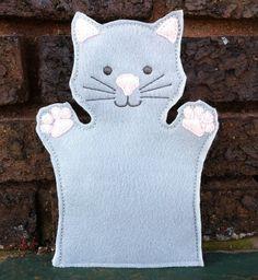 Cat  Pet Set  Animal Felt Hand Puppet  Adult by ThatsSewPersonal