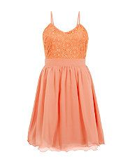 Coral (Orange) Coral Strappy Embroidered Contrast Skater Dress | 313583183 | New Look