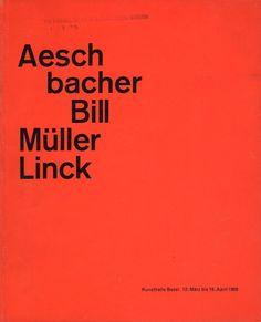 """Aeschbacher, Bill, Müller Linck"" Exhibition Catalog, Kunsthalle Basel, 1959., Benno Schwabe & Co., Designed by Armin Hofmann"