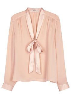 Alice + Olivia light pink silk crepe blouse Satin neck ties and button-fastening cuffs, gathered shoulders and back Slips on silk Classy Outfits For Women, Pencil Skirt Work, Satin Blouses, Collar Styles, Silk Crepe, Pink Silk, Tight Dresses, Polyvore Outfits, Pink Tops