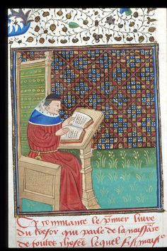 Detail of a miniature of the author reading. Image taken from f. 2v of Li Livres dou tresor