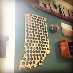 The Original Beer Cap Map Of USA Display Beer Caps Craft Beer Cap - Indiana beer cap map