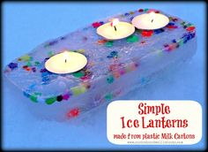 Frozen Ice Lanterns made from milk cartons