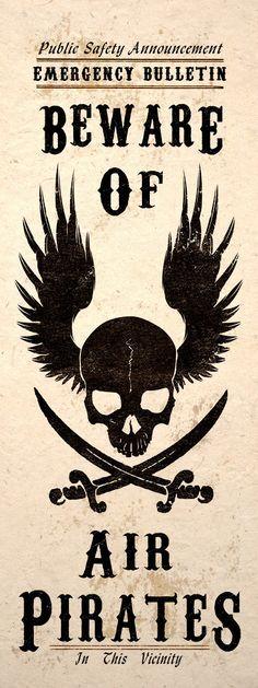 * Steampunk Art Print Beware Air Pirates Skull Jolly Roger Wall Poster ~ Shop: TigerHouseArt *
