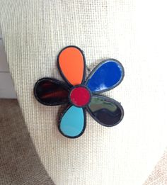 Vintage Selini Stained Glass Brooch