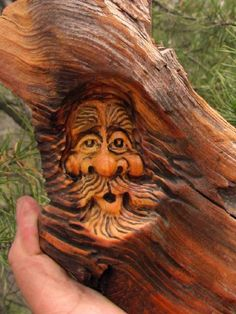 Tree Wood Carving Rustic Spirit Log Home Gnome Cabin Art Forest Wizard Hobbit | eBay