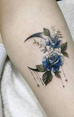 Cute Watercolor Blue Floral Flower Rose Moon Forearm Tattoo Ideas for Women - ww. Cute Watercolor Blue Floral Flower Rose Moon Forearm Tattoo Ideas for Women - ww. Trendy Tattoos, Unique Tattoos, Cute Tattoos, Beautiful Tattoos, New Tattoos, Body Art Tattoos, Small Tattoos, Awesome Tattoos, Form Tattoo