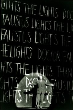 Doctor Faustus Lights the Lights  Berlin, 1992, Scenography by Robert Wilson, Photo by Archie Kent #words #board #background