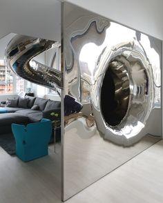 Playful Indoor Slide Sweeps Through Modern Home - My Modern Metropolis