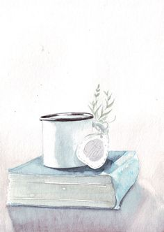 Original watercolor painting Chai tea enamel cup on by HelgaMcL http://etsy.me/WjG3AO $20.00
