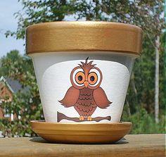Four Inch Owl Flower Pot Terra Cotta by EllensClayCreations, $12.00