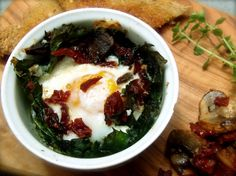 Baked Eggs with Kale, Feta and Sundried Tomato-mushroom Topping