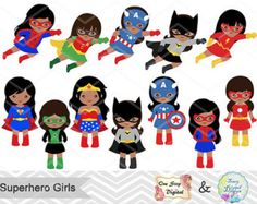 27 Little Girl Superheros Digital Clip Art by TracyDigitalDesign