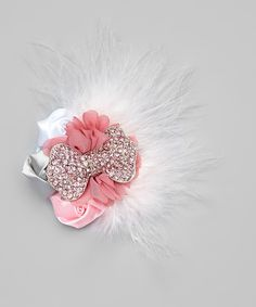 Love this Pink & White Big Bow Adele Clip by My Sunshine Shoppe on #zulily! #zulilyfinds