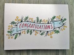 Rustic Hand Drawn Congratulations Card Vintage by ChampaignPaper