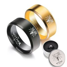 Ps4 Game The Witcher 3: Wild Hunt Logo Titanium Steel Ring Cosplay Jewelry