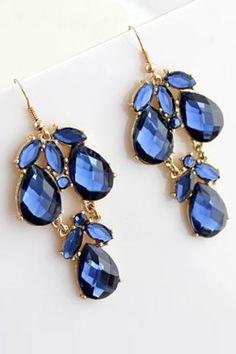 ROMWE | Jewelled Drop Blue Earrings, The Latest Street Fashion