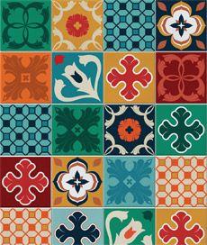Adesivos para azulejo com estampa de azulejos hidráulico. Cobre completamente o azulejo original.