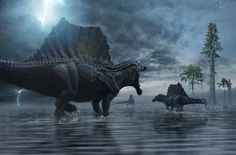 Spinosaurus Hunting Party by Herschel-Hoffmeyer on DeviantArt Dinosaur Fossils, Dinosaur Art, The Good Dinosaur, Spinosaurus, Carnivore, Jurassic Park World, Extinct Animals, Prehistoric Creatures, North Africa