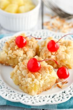 These Pineapple Coconut Crumb Bars use the same mixture for the crust and topping and are filled with a delicious pineapple coconut filling!