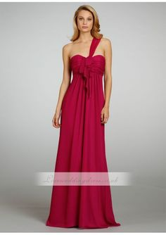 Dahlia Crinkle Chiffon One Shoulder A-line Bridesmaid Gown With Ruffle Detail