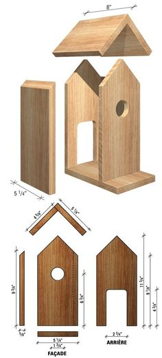 Wooden Bird Feeders, Wooden Bird Houses, Bird House Feeder, Bird Houses Diy, Wood Block Crafts, Wood Crafts, Woodworking Projects Diy, Wood Projects, Bird House Plans Free