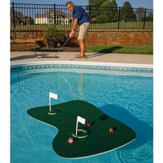 Blue Wave Aqua Backyard Swimming Pool Golf at Lowe's. The ultimate pool and backyard golf game. Play a round of golf in your swimming pool or backyard with the ultimate Aqua Golf Backyard Golf Game. Chip onto Golf Putting Green, Golf Green, Green Aqua, Backyard Putting Green, Green Mat, Pool Toys For Adults, Jacuzzi, Swimming Pool Games, My Pool