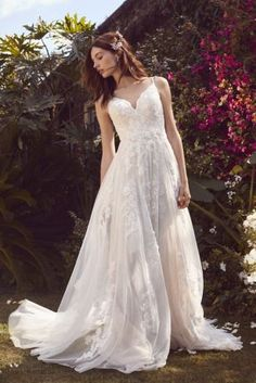 5df83b0d52a0 Scalloped A-Line Wedding Dress with Double Straps