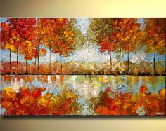 Textured Modern Blooming Tree Painting Forest by OsnatFineArt