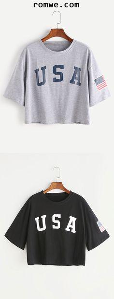 Grey Letter Print Drop Shoulder T-shirt