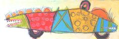 """Two Faced Fish Car, 12"""" x 36"""", at High Street Gallery, Belfast ME : Studio/Gallery Inventory : Susan Finsen - Abstract Drawing and Painting"""