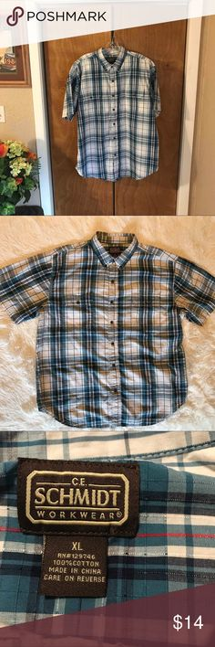 """👔C.E. Schmidt Workwear Button Down Casual Shirt 👔C.E. Schmidt Workwear  👔Gently Used 👔Button Down Collar  👔Short Sleeve  👔Reference Photographs Approximate Measurements Neck 18"""" Shoulders 22"""" Chest 28"""" Length 32"""" 👔100% Cotton ♠️The Accuracy Of My Descriptions Are Important To Me. If You Have Any Questions Or Need Additional Photographs, Please Ask. 🚫Trades C.E. Schmidt Workwear Shirts Casual Button Down Shirts"""