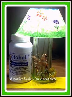 etched glass and lamp kit  http://chuy-creativity.blogspot.com/2016/04/diy-spring-lamp.html