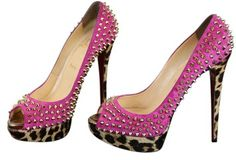 55e1aa8f317c GB1024225 Authentic Christian Louboutin Pink Grenadine Lady Peep Gold  Spikes 150 Pony Leopard Size 10.5 Extra