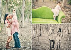 Family photos in the forest