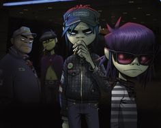 """Gorillaz is an English musical and visual project created in 1998 by Damon Albarn and Jamie Hewlett. The project consists of Gorillaz itself and an extensive fictional universe depicting a """"virtual band"""" of cartoon characters. Damon Albarn, Art Gorillaz, Gorillaz Band, Russel Hobbs, Daft Punk, Tank Girl, Blur, Game Design, Design Ideas"""