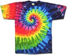 Rainbow Swirl tie dye t-shirt <br> Our cotton rainbow tie dye t-shirts feature a classic swirl design and are made in the USA! Buy tie dye tees and official rock gear at eDeadShop. Sharpie Tie Dye, Sharpie Markers, Make A Tie, How To Tie Dye, Camisa Hippie, Designs Tie Dye, Camisa Tie Dye, Rainbow Tie Dye Shirt, Homemade Tie Dye