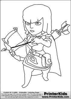 archer clash of clans coloring pages printable and coloring book to print for free. Find more coloring pages online for kids and adults of archer clash of clans coloring pages to print.