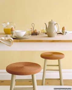 A plain pair of wooden seats gets a bright new look from simple coils of rope.