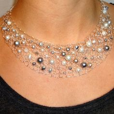 Modern Silver Bib, Statement Necklace, Wire Lace Bib Collar, Sparkling Crystal, Holiday Jewelry, Pearl, Grey White on Etsy, $168.00
