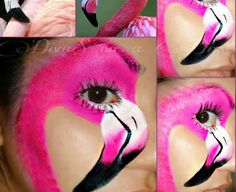 Simple face painting designs are not hard. Many people think that in order to have a great face painting creation, they have to use complex designs, rather then Face Painting Designs, Paint Designs, Body Painting, Animal Face Paintings, Animal Faces, Flamingo Face Paint, Face Paint Makeup, Cool Face, Fantasy Makeup