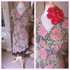 Retro Dress Floral Print Black 1940s Style S M Rockabilly Swing 40s Loco Lindo #LocoLindo #TeaDress