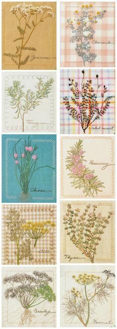 森系刺绣图案 Hand embroidered- herbs